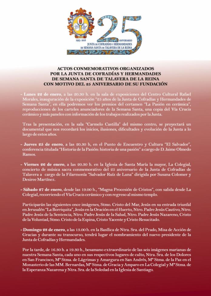 Actos con motivo del 25 aniversario de la Junta de Cofradías